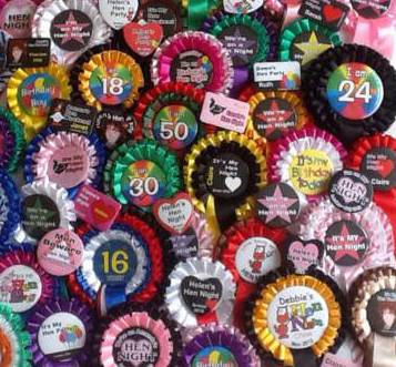 hen night rosettes Personalised Rosettes