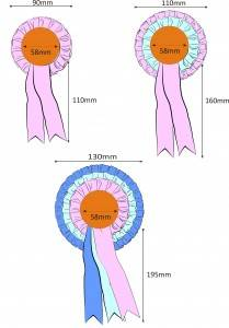 rosette sizes - buy customised rosettes