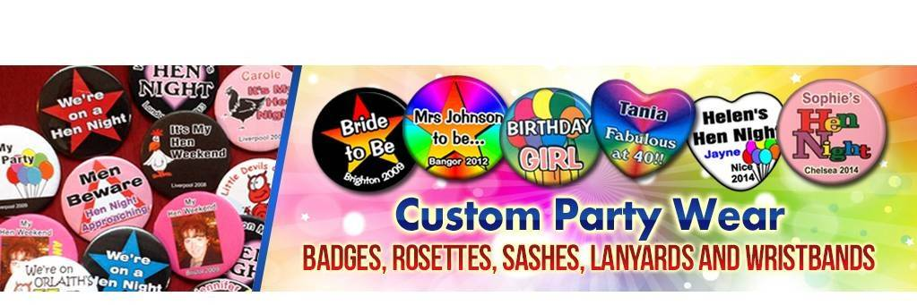Custom Party Badges - buy on line now