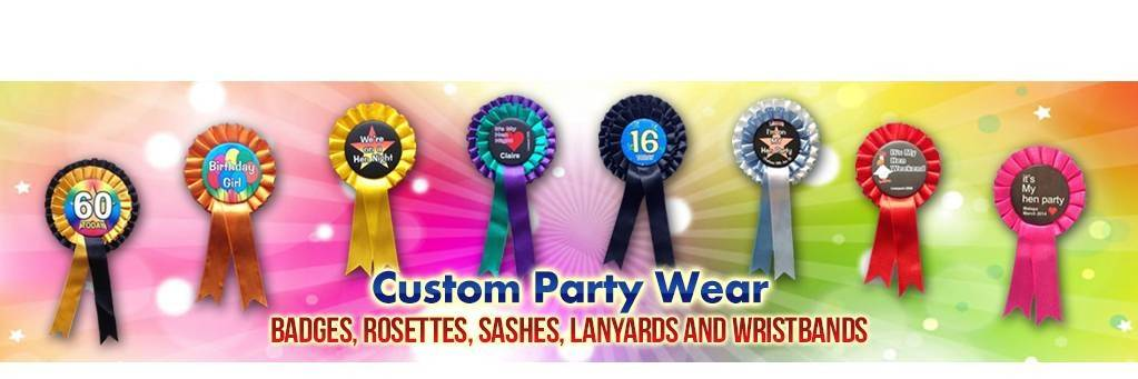 Custom Party Rosettes - buy on line now